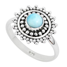 925 sterling silver 0.72cts natural blue larimar solitaire ring size 6 r93844