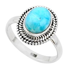 925 sterling silver 3.29cts natural blue larimar solitaire ring size 6 t4956