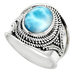 925 sterling silver 4.38cts natural blue larimar solitaire ring size 7 r52208