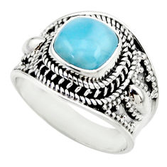 925 sterling silver 3.16cts natural blue larimar solitaire ring size 7 r52213