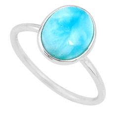 925 sterling silver 4.29cts natural blue larimar solitaire ring size 7 r81656