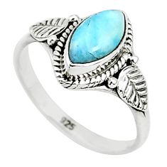 925 sterling silver 2.27cts natural blue larimar solitaire ring size 7 r93864