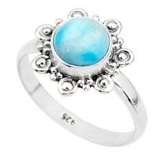 925 sterling silver 2.42cts natural blue larimar solitaire ring size 7 t4959