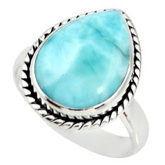 925 sterling silver 10.78cts natural blue larimar solitaire ring size 8 r26204