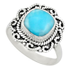 925 sterling silver 4.82cts natural blue larimar solitaire ring size 8 r52408