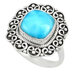 925 sterling silver 5.11cts natural blue larimar solitaire ring size 8 r52420
