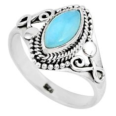 925 sterling silver 2.53cts natural blue larimar solitaire ring size 8 r93869