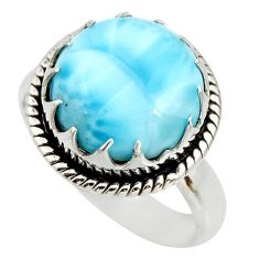 925 sterling silver 11.23cts natural blue larimar solitaire ring size 9 r26208