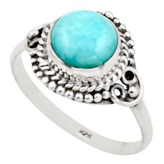 925 sterling silver 2.92cts natural blue larimar solitaire ring size 9 r41404
