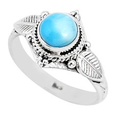 925 sterling silver 2.53cts natural blue larimar solitaire ring size 9 r93824