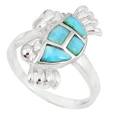 925 sterling silver natural blue larimar topaz crab ring size 8.5 a60687 c15145