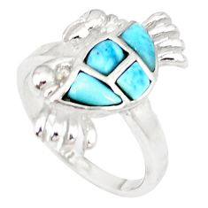 925 sterling silver natural blue larimar topaz crab ring size 7 a46890 c15159