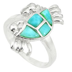 925 sterling silver natural blue larimar topaz crab ring size 7 a74778 c13257