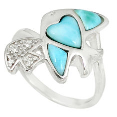 925 sterling silver natural blue larimar topaz fish ring size 8.5 a60735 c15024