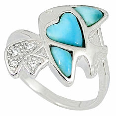 925 sterling silver natural blue larimar topaz fish ring size 8 a33067 c15037