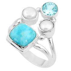 925 sterling silver 5.79cts natural blue larimar topaz pearl ring size 7 t10454