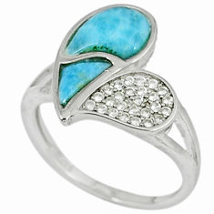 925 sterling silver natural blue larimar white topaz ring size 8 a33157 c15074