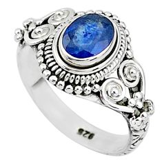 925 sterling silver 1.53cts natural blue sapphire solitaire ring size 6 t5517