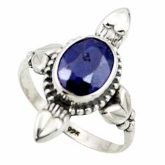 925 sterling silver 2.92cts natural blue sapphire solitaire ring size 7 r41428