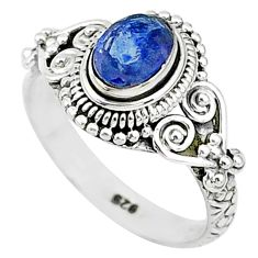 925 sterling silver 1.40cts natural blue sapphire solitaire ring size 7 t5518