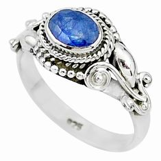925 sterling silver 1.45cts natural blue sapphire solitaire ring size 7 t5519