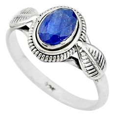 925 sterling silver 1.51cts natural blue sapphire solitaire ring size 8 t5505