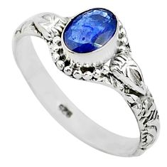 925 sterling silver 1.42cts natural blue sapphire solitaire ring size 9 t5510