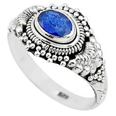 925 sterling silver 1.53cts natural blue sapphire solitaire ring size 9 t5514