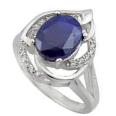 925 sterling silver 7.07cts natural blue sapphire topaz ring size 7.5 c26284