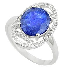 925 sterling silver natural blue sapphire white topaz ring size 9 c17906