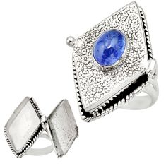 925 sterling silver 2.22cts natural blue tanzanite poison box ring size 8 r26644