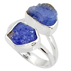 925 sterling silver 9.61cts natural blue tanzanite rough ring size 6 r38278