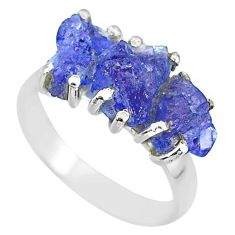 925 sterling silver 8.84cts natural blue tanzanite raw ring size 7 r91846