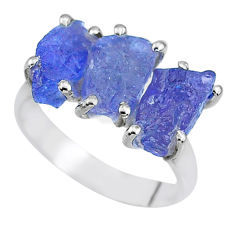 925 sterling silver 9.37cts natural blue tanzanite raw ring size 7 r91870