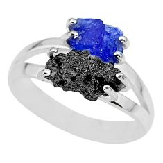 925 sterling silver 5.22cts natural blue tanzanite rough ring size 8 r92289