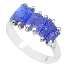 925 sterling silver 9.37cts natural blue tanzanite raw ring size 9 r91878