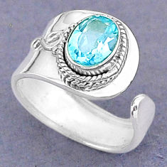 925 sterling silver 1.81cts natural blue topaz adjustable ring size 6 t8507