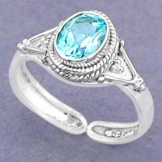 925 sterling silver 2.00cts natural blue topaz adjustable ring size 8 t8515