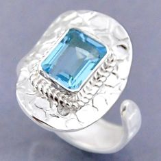 925 sterling silver 3.28cts natural blue topaz adjustable ring size 9 r54756