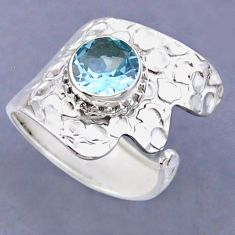 925 sterling silver 3.19cts natural blue topaz adjustable ring size 9 r54838