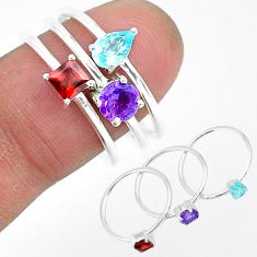 925 sterling silver 3.04cts natural blue topaz amethyst 3 rings size 8 r93105