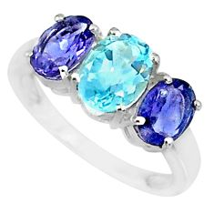 925 sterling silver 4.87cts natural blue topaz iolite ring jewelry size 7 r84070