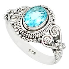 925 sterling silver 1.45cts natural blue topaz oval solitaire ring size 6 r85516