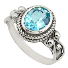925 sterling silver 3.41cts natural blue topaz oval solitaire ring size 7 r40953