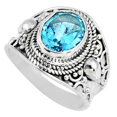 925 sterling silver 4.51cts natural blue topaz oval solitaire ring size 7 r58371
