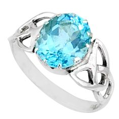 925 sterling silver 5.13cts natural blue topaz oval solitaire ring size 7 r67423