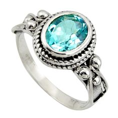925 sterling silver 3.28cts natural blue topaz oval solitaire ring size 8 r40993