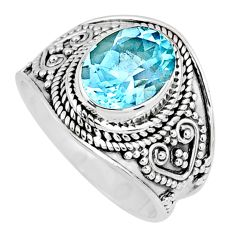 925 sterling silver 4.30cts natural blue topaz oval solitaire ring size 8 r58378