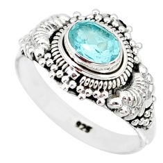 925 sterling silver 1.45cts natural blue topaz oval solitaire ring size 8 r85508