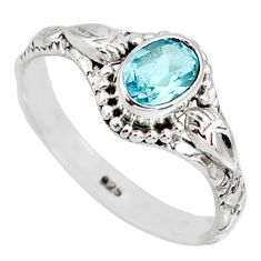 925 sterling silver 1.51cts natural blue topaz oval solitaire ring size 9 r85504